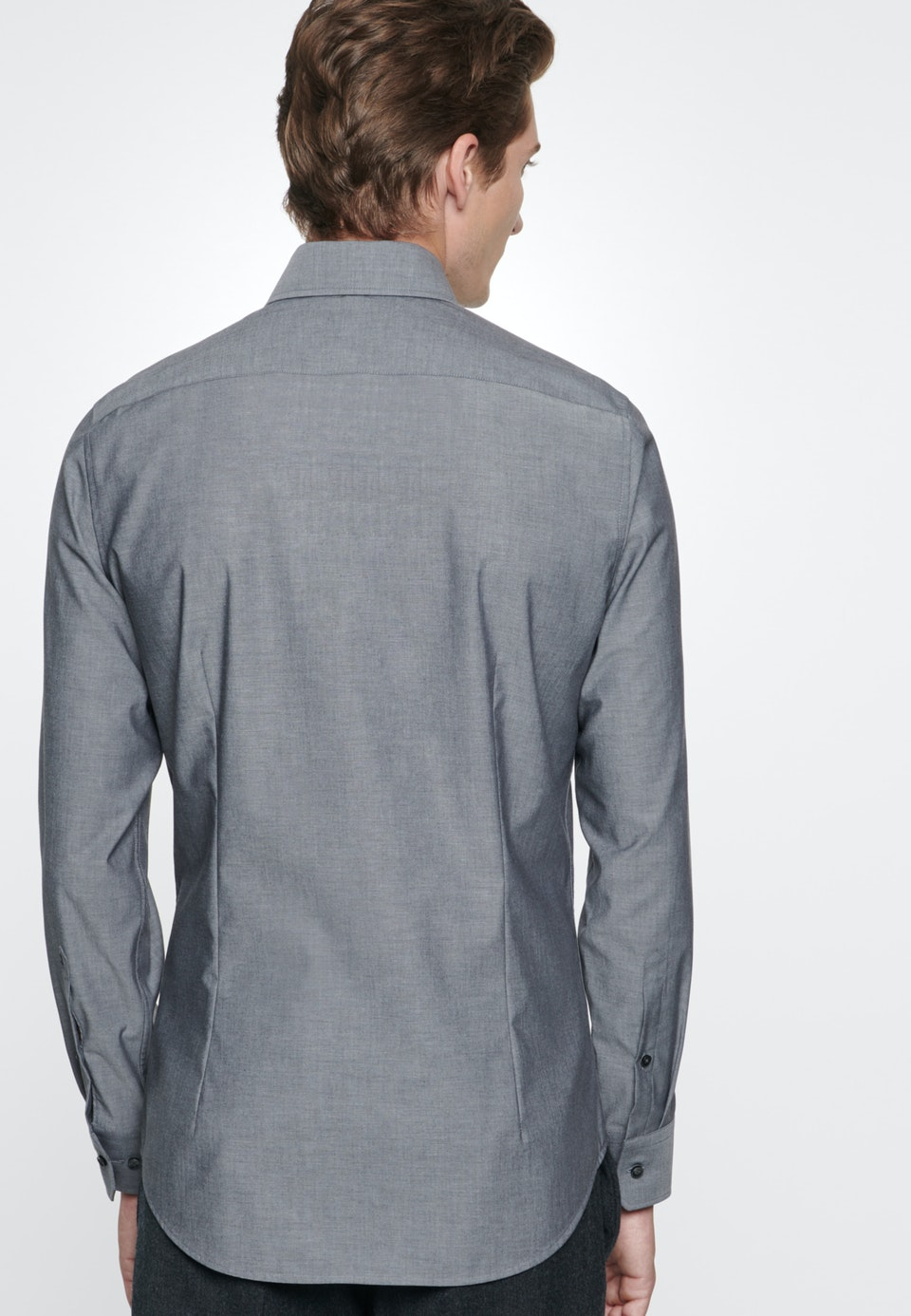 Non-iron Chambray Business Shirt in Slim with Kent-Collar in Grey    Seidensticker Onlineshop