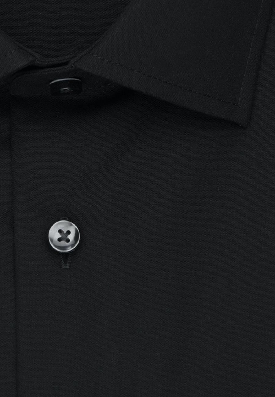 Non-iron Popeline Short sleeve Business Shirt in Slim with Kent-Collar in Black    Seidensticker Onlineshop
