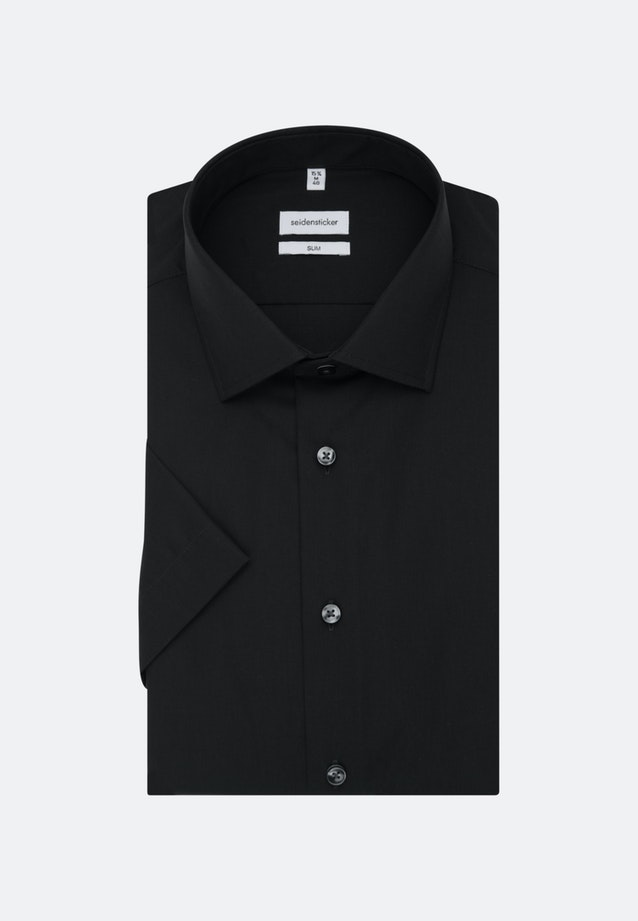 Non-iron Popeline Short sleeve Business Shirt in Slim with Kent-Collar in Black |  Seidensticker Onlineshop