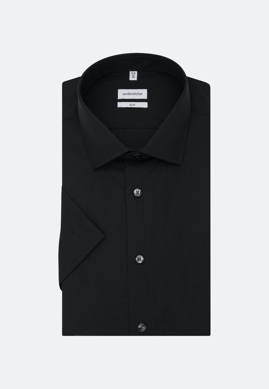Non-iron Poplin Short sleeve Business Shirt in Slim with Kent-Collar in Black |  Seidensticker Onlineshop