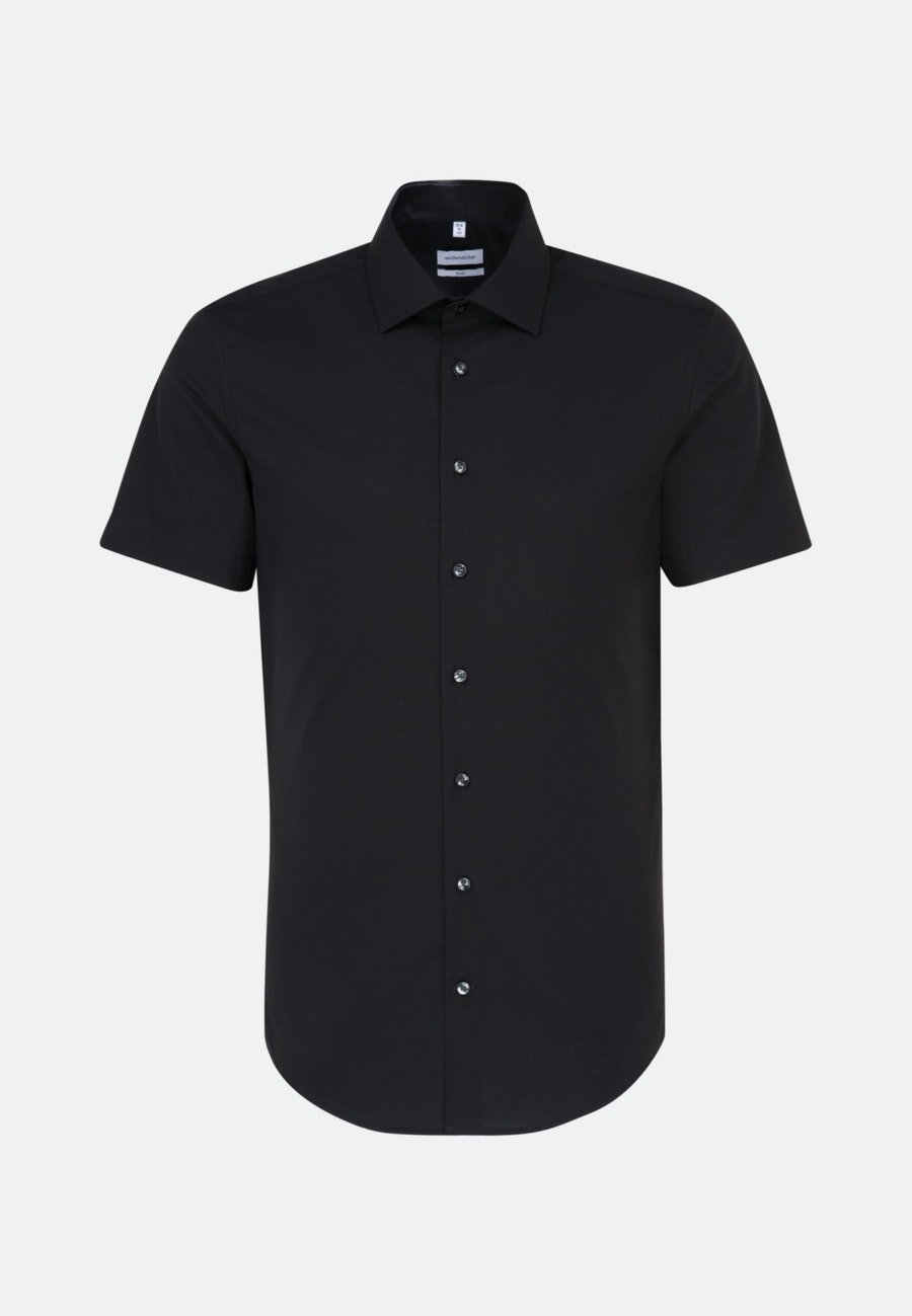 Non-iron Popeline Short sleeve Business Shirt in Slim with Kent-Collar in Black |  Seidensticker Onlineshop