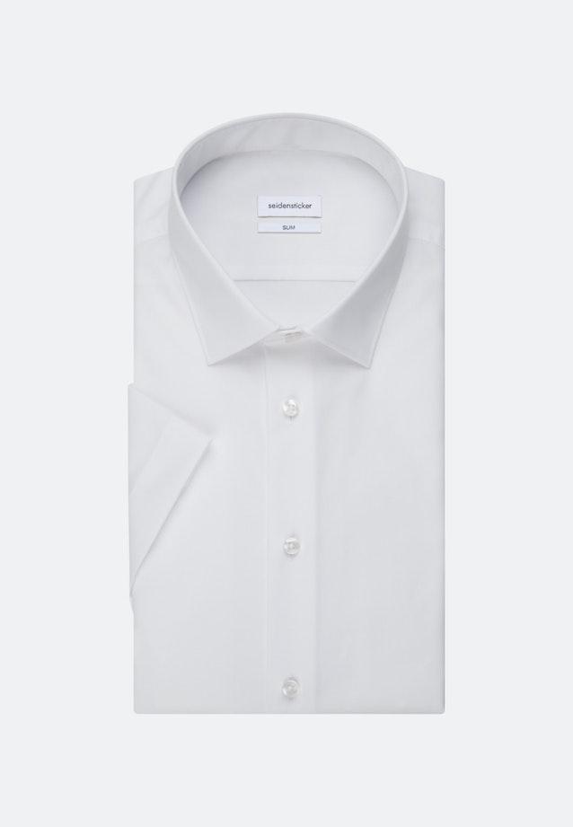 Bügelfreies Popeline Kurzarm Business Hemd in Slim mit Kentkragen in Weiß |  Seidensticker Onlineshop
