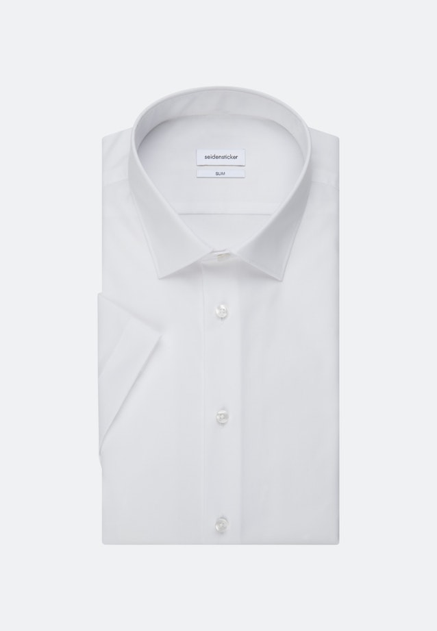 Non-iron Popeline Short sleeve Business Shirt in Slim with Kent-Collar in White |  Seidensticker Onlineshop