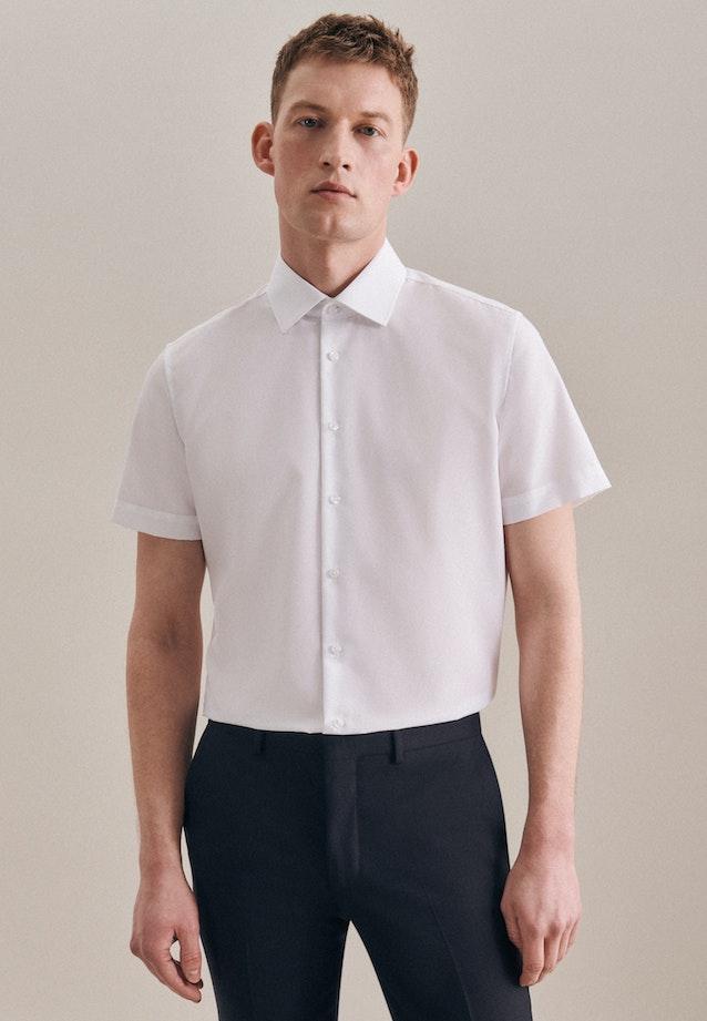 Bügelfreies Popeline Kurzarm Business Hemd in Slim mit Kentkragen in Weiß    Seidensticker Onlineshop