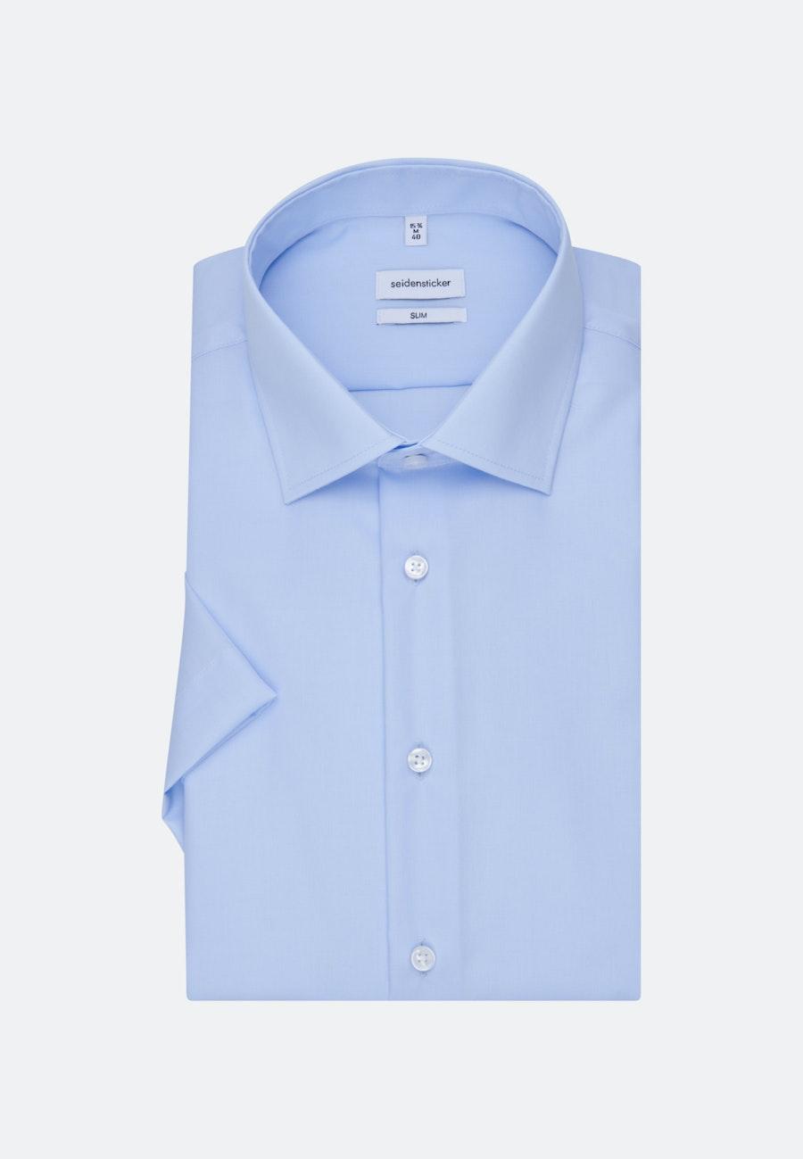 Bügelfreies Popeline Kurzarm Business Hemd in Slim mit Kentkragen in Mittelblau |  Seidensticker Onlineshop