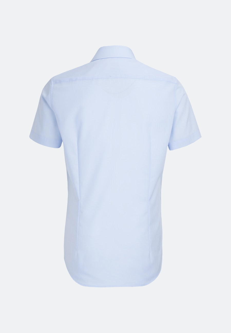 Non-iron Popeline Short sleeve Business Shirt in Slim with Kent-Collar in Medium blue |  Seidensticker Onlineshop