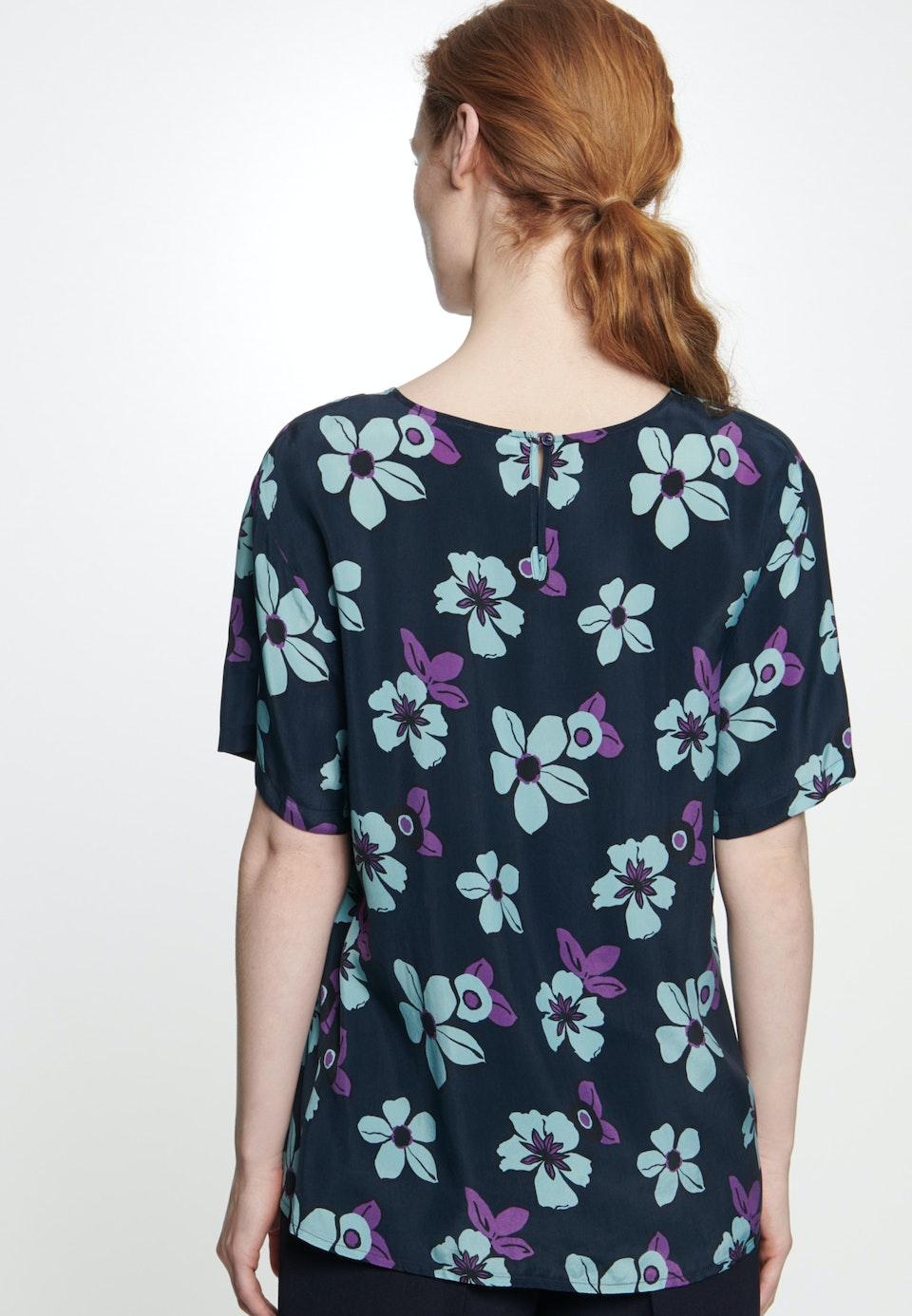 Short sleeve Shirt Blouse made of 100% Cupro in Dark blue |  Seidensticker Onlineshop