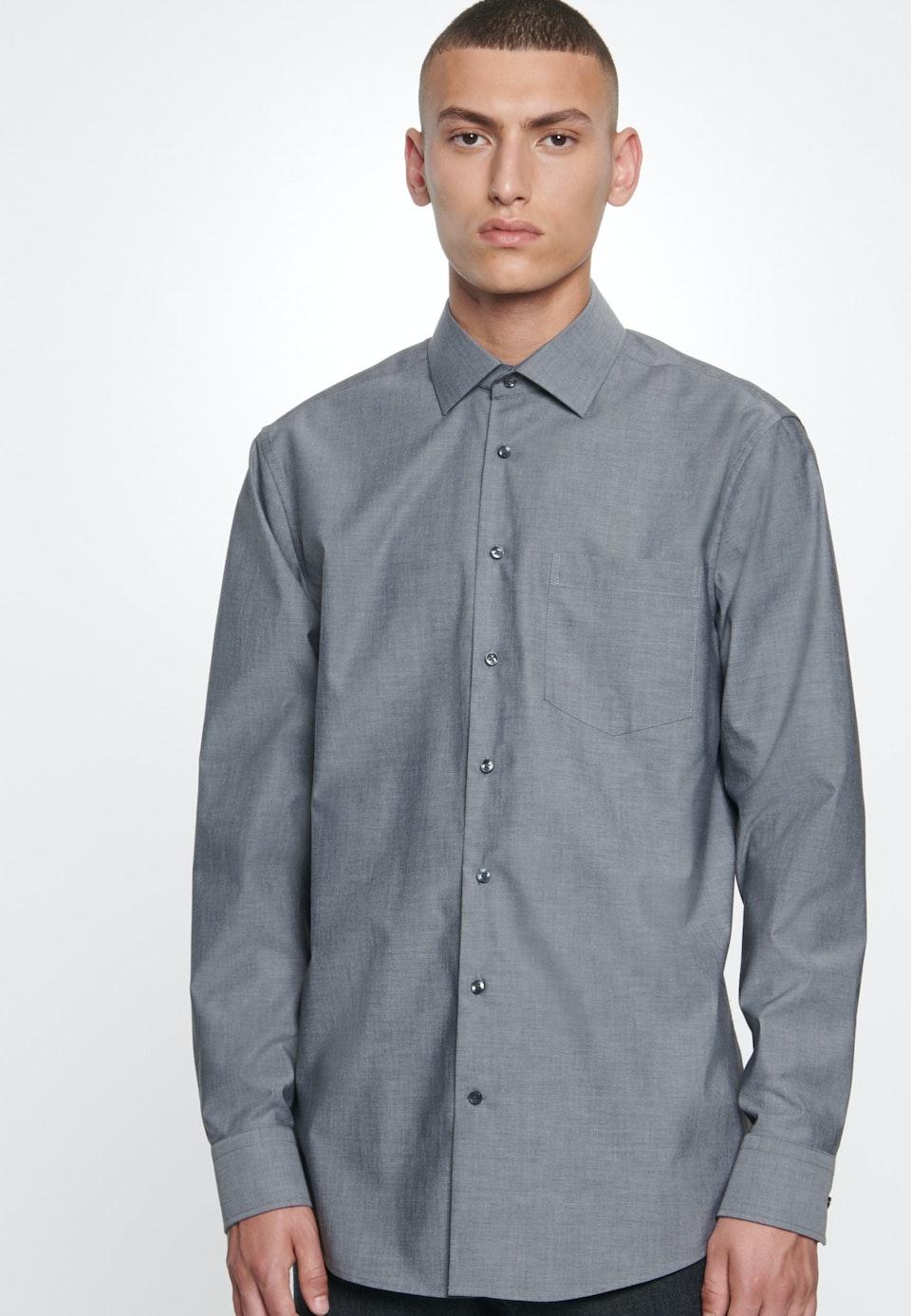 Non-iron Chambray Business Shirt in Regular with Kent-Collar in Grey |  Seidensticker Onlineshop