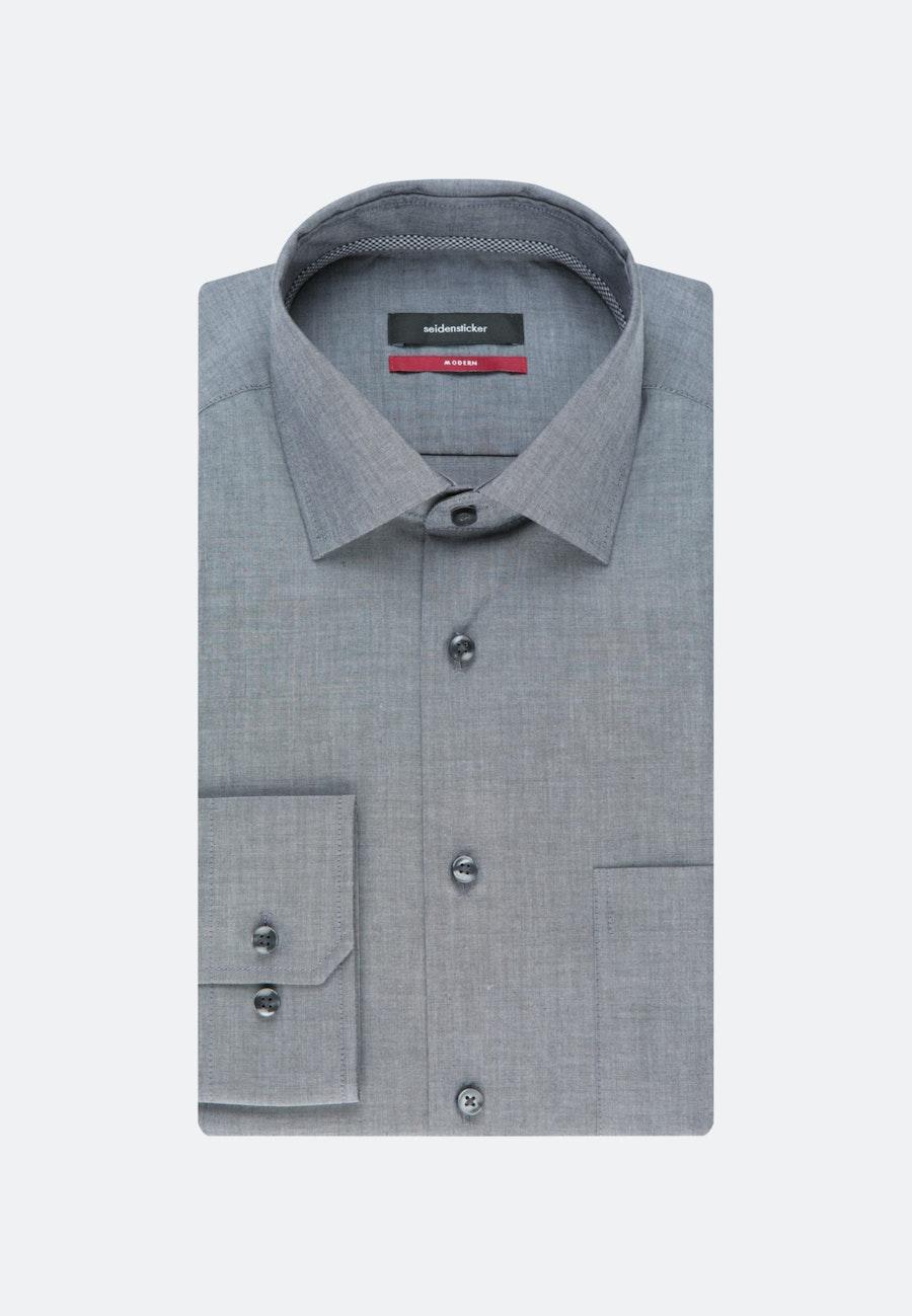 Bügelfreies Chambray Business Hemd in Regular mit Kentkragen in Grau |  Seidensticker Onlineshop