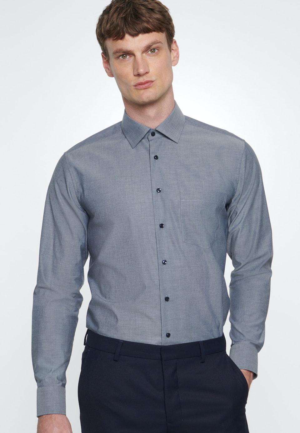 Non-iron Chambray Business Shirt in Regular with Kent-Collar in Dark blue    Seidensticker Onlineshop