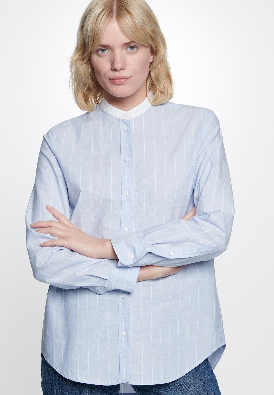 Fil a fil Stehkragenbluse aus 100% Baumwolle in Hellblau |  Seidensticker Onlineshop