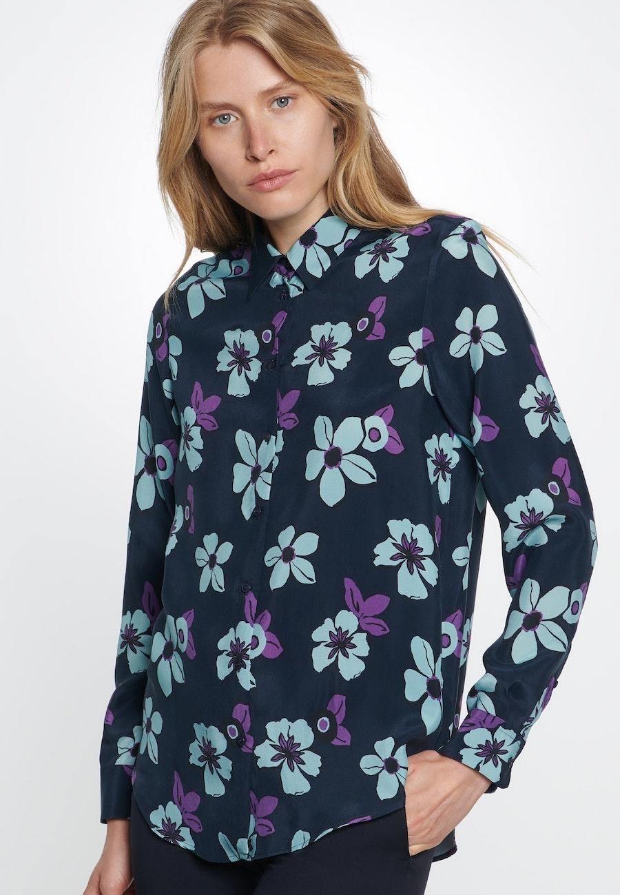 Shirt Blouse made of 100% Cupro in Dark blue    Seidensticker Onlineshop