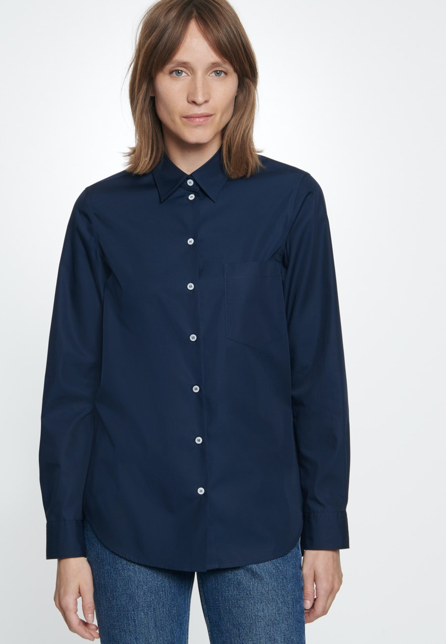 Popeline Shirt Blouse made of 100% Cotton in Dunkelblau |  Seidensticker Onlineshop