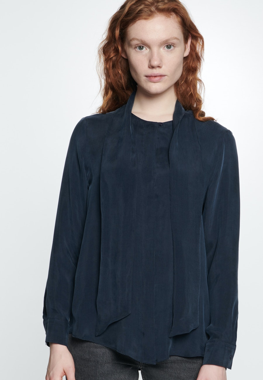 Tie-Neck Blouse made of rayon blend in Dark blue |  Seidensticker Onlineshop