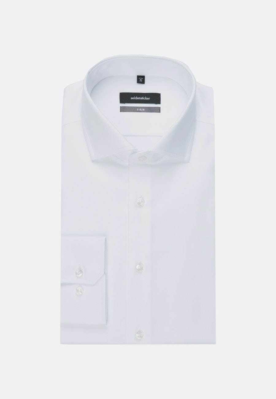 Easy-iron Twill Business Shirt in X-Slim with Kent-Collar in White |  Seidensticker Onlineshop