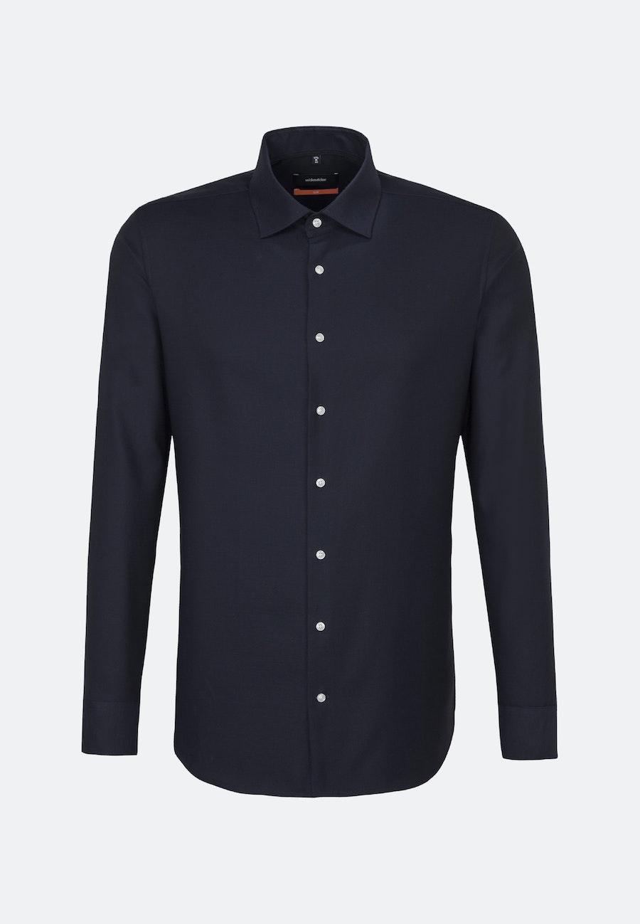 Non-iron Struktur Business Shirt in Slim with Kent-Collar in Dark blue |  Seidensticker Onlineshop