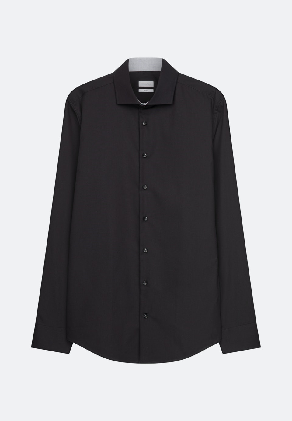 Bügelleichtes Popeline Business Hemd in Slim mit Kentkragen in Schwarz |  Seidensticker Onlineshop