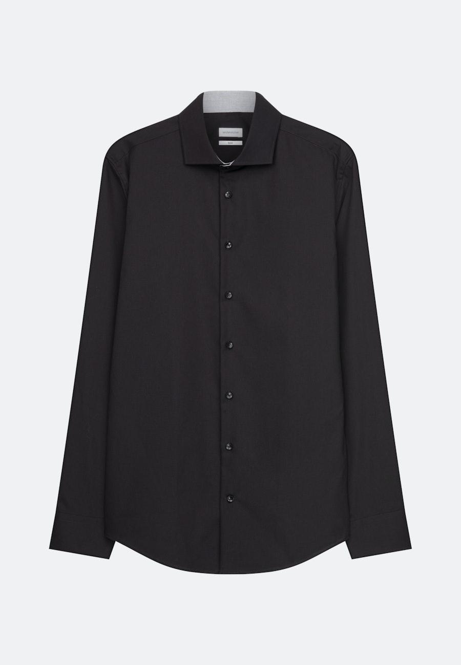 Bügelleichtes Popeline Business Hemd in Slim mit Kentkragen in Schwarz    Seidensticker Onlineshop
