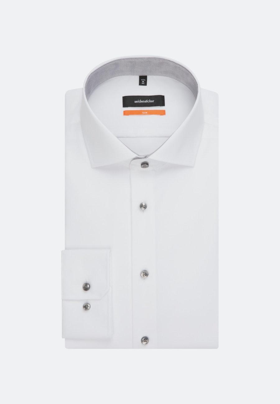 Bügelleichtes Popeline Business Hemd in Slim mit Kentkragen in Weiß |  Seidensticker Onlineshop