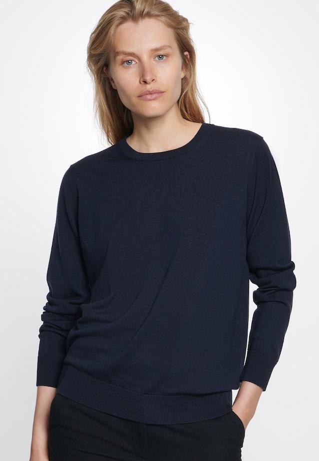 Rundhals Pullover aus 100% Wolle in Dunkelblau    Seidensticker Onlineshop
