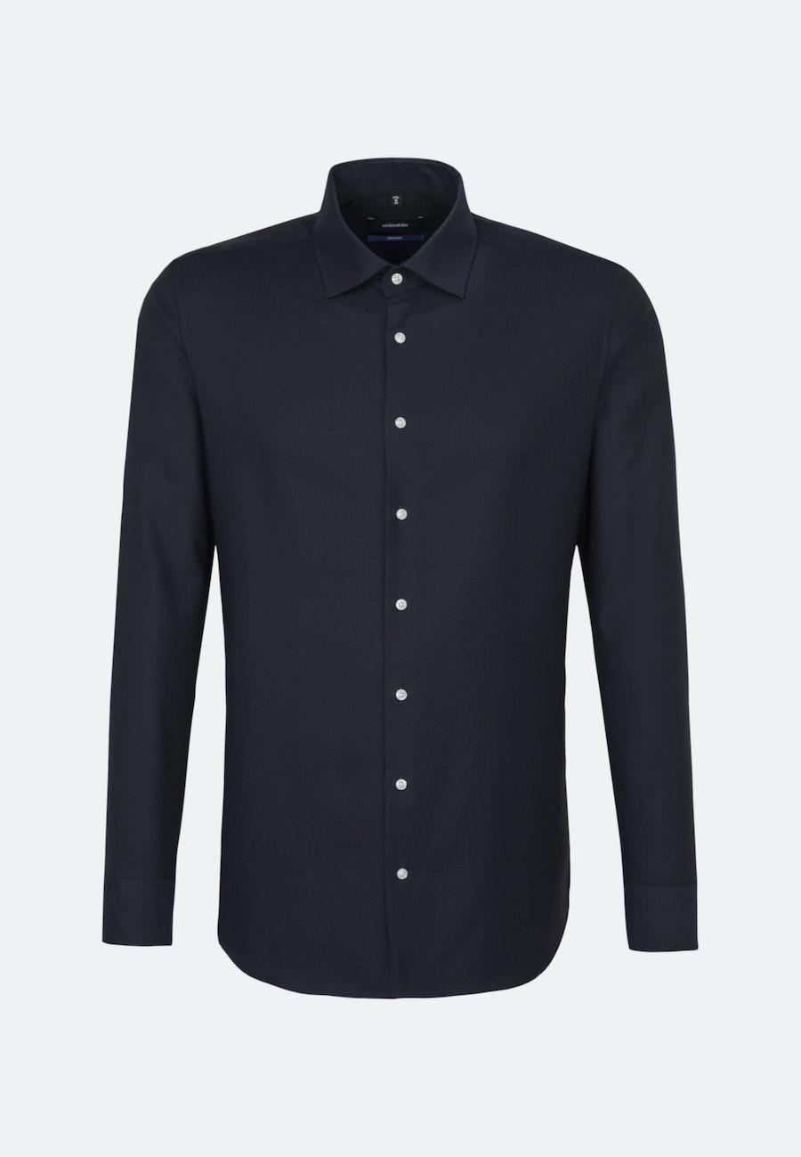Non-iron Struktur Business Shirt in Shaped with Kent-Collar in Dark blue |  Seidensticker Onlineshop