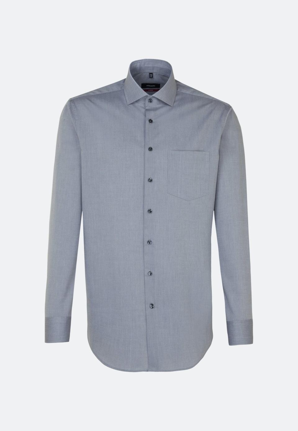 Non-iron Poplin Business Shirt in Regular with Kent-Collar in Grey    Seidensticker Onlineshop