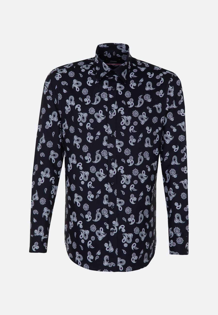 Bügelleichtes Twill Business Hemd in Regular mit Covered-Button-Down-Kragen in Dunkelblau |  Seidensticker Onlineshop