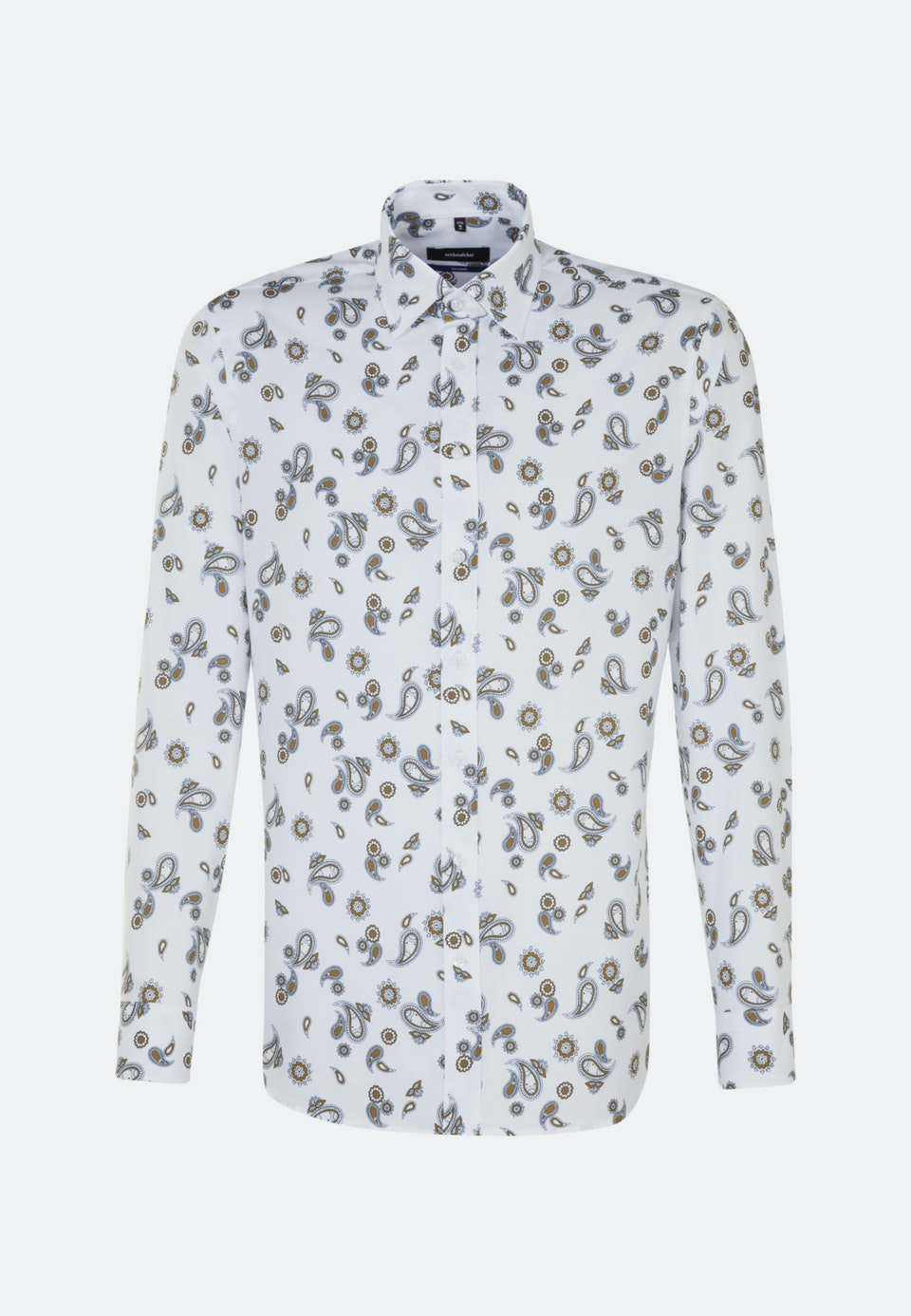 Easy-iron Twill Business Shirt in Shaped with Covered-Button-Down-Collar in White |  Seidensticker Onlineshop