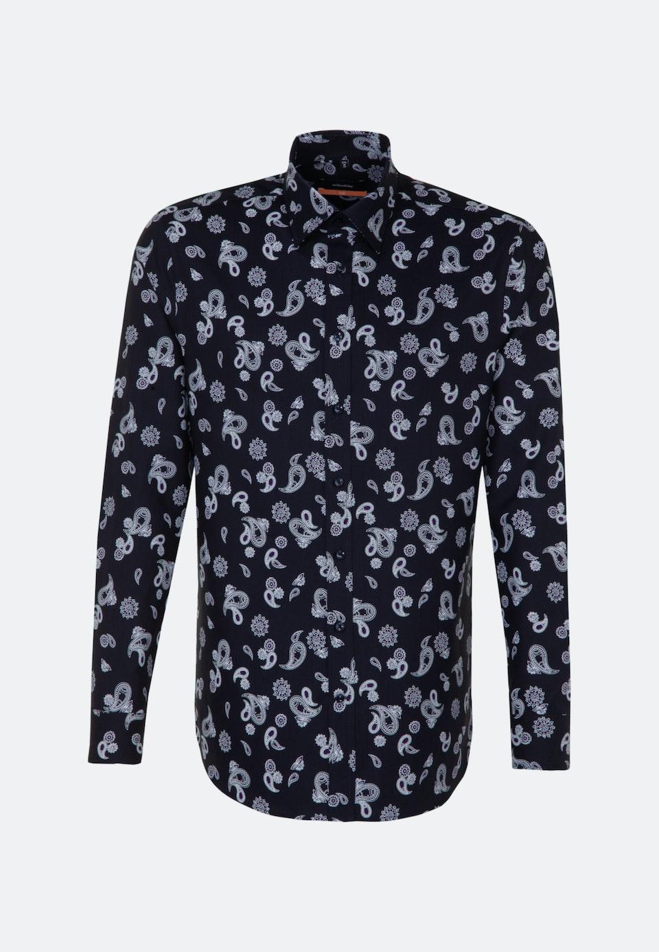 Bügelleichtes Twill Business Hemd in Slim mit Covered-Button-Down-Kragen in Dunkelblau |  Seidensticker Onlineshop