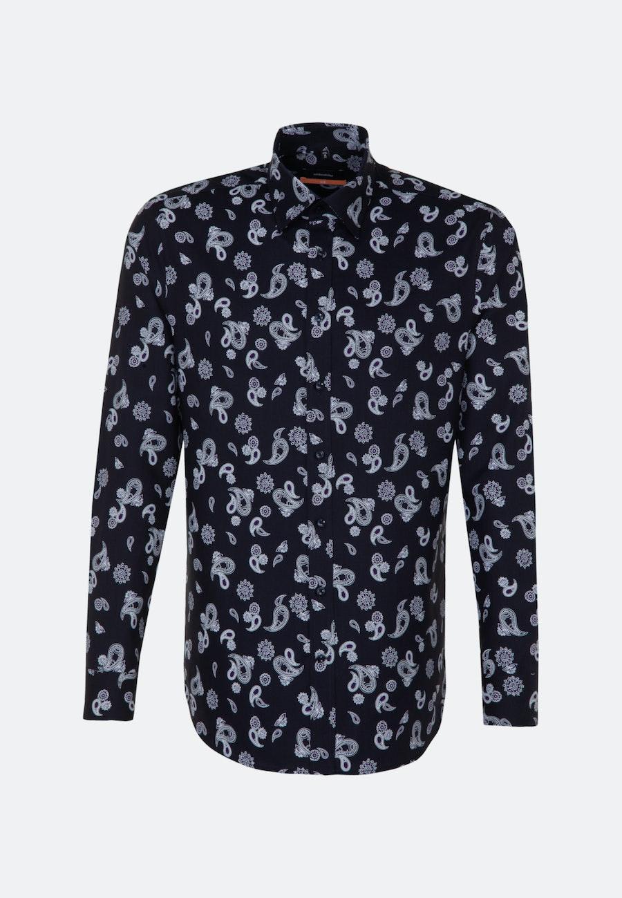 Twill Business Hemd in Slim mit Covered-Button-Down-Kragen in Dunkelblau |  Seidensticker Onlineshop