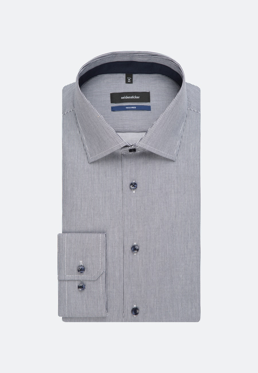 Bügelfreies Twill Business Hemd in Shaped mit Kentkragen in Dunkelblau    Seidensticker Onlineshop