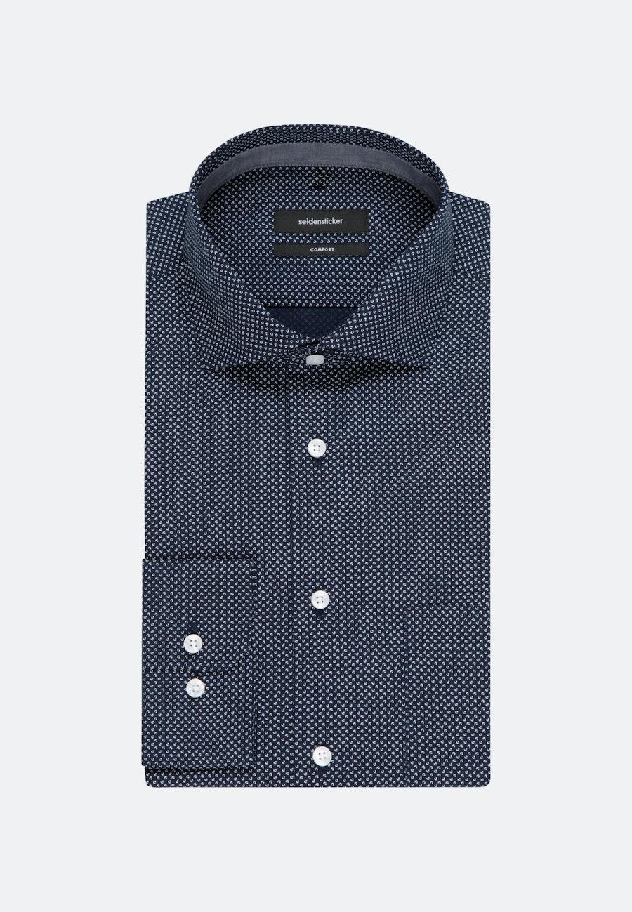 Bügelleichtes Popeline Business Hemd in Comfort mit Kentkragen in Dunkelblau |  Seidensticker Onlineshop