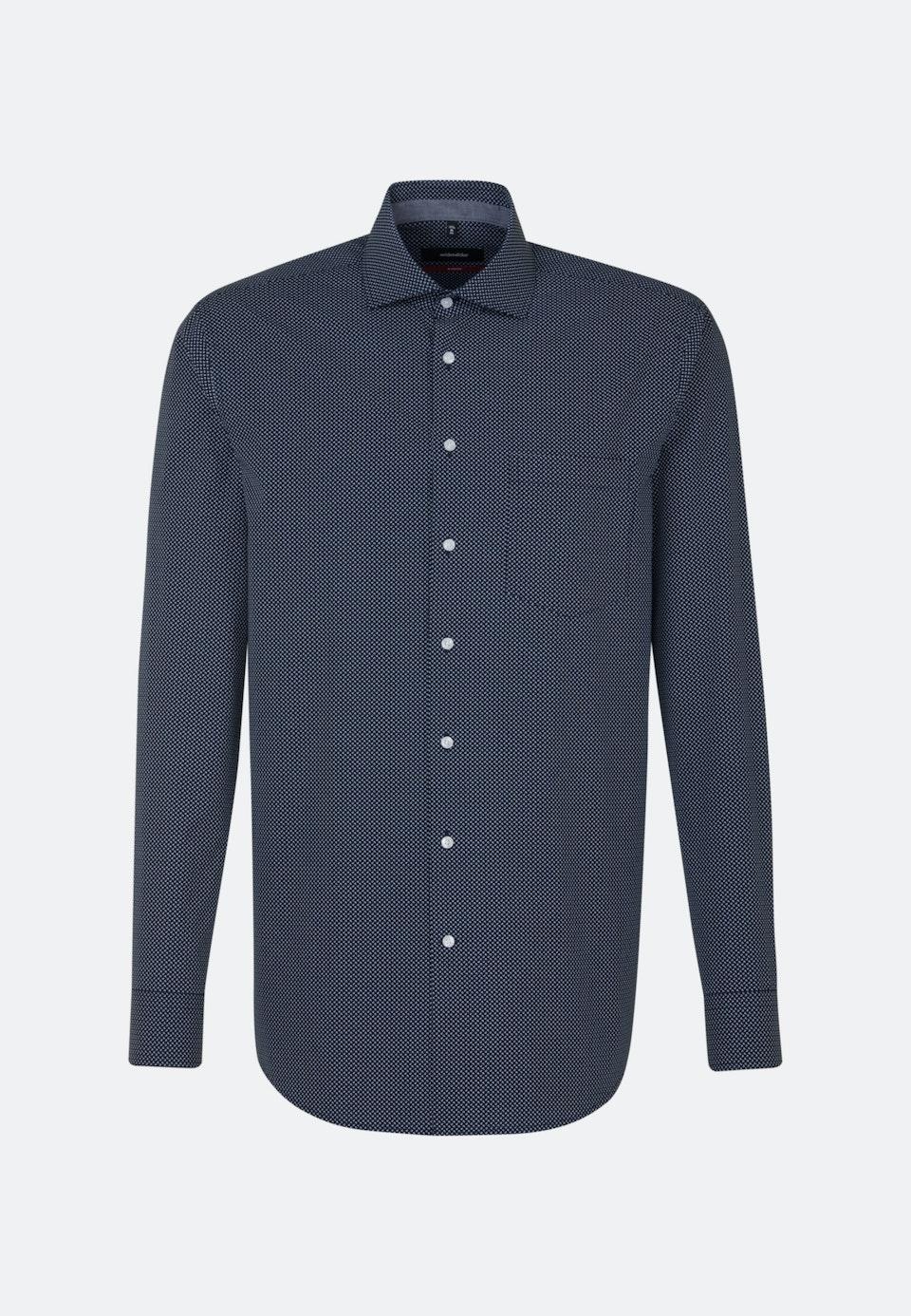 Bügelleichtes Popeline Business Hemd in Regular mit Kentkragen und extra langem Arm in Dunkelblau    Seidensticker Onlineshop