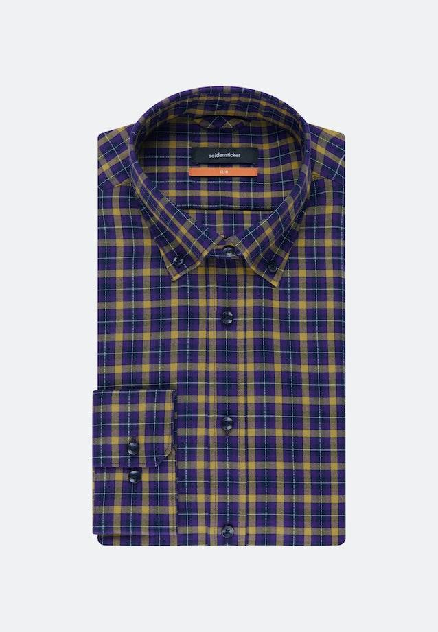 Bügelleichtes Twill Business Hemd in Slim mit Button-Down-Kragen in Gelb    Seidensticker Onlineshop