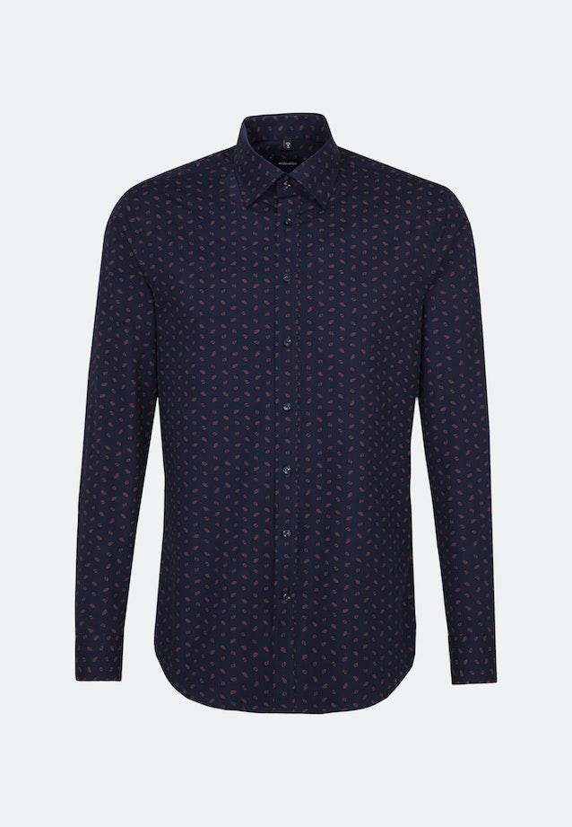 Bügelleichtes Popeline Business Hemd in Regular mit Covered-Button-Down-Kragen in Dunkelblau |  Seidensticker Onlineshop