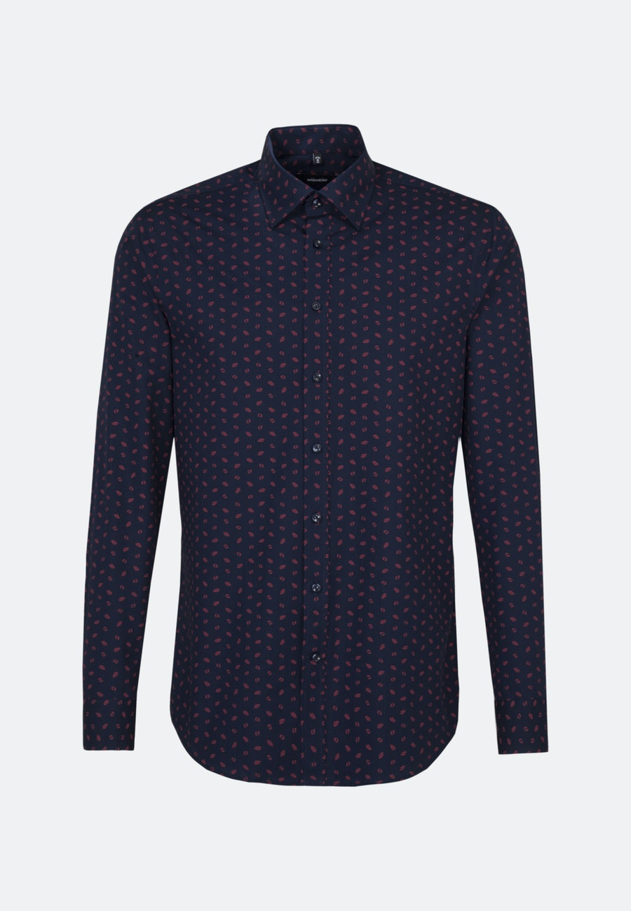Bügelleichtes Popeline Business Hemd in Regular mit Covered-Button-Down-Kragen in Dunkelblau |  Seidensticker Onlineshop