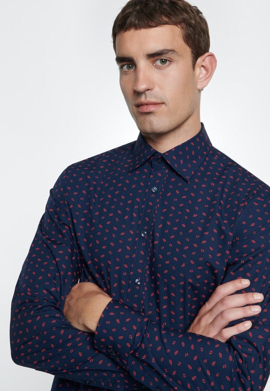 Easy-iron Poplin Business Shirt in Shaped with Covered-Button-Down-Collar in Dark blue    Seidensticker Onlineshop