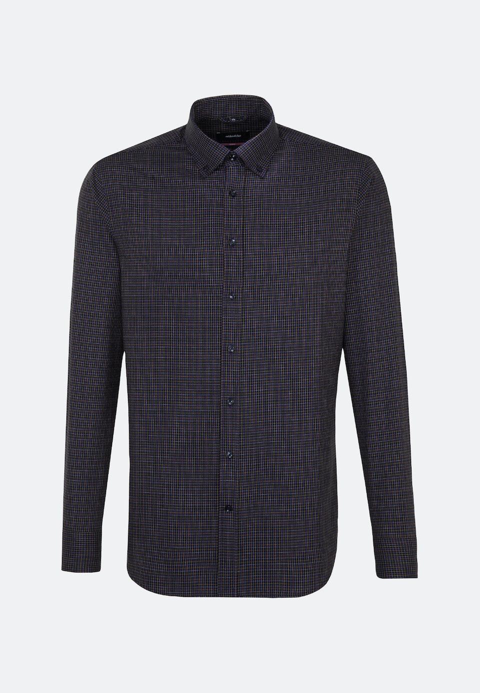 Bügelleichtes Twill Business Hemd in Regular mit Button-Down-Kragen in Lila    Seidensticker Onlineshop