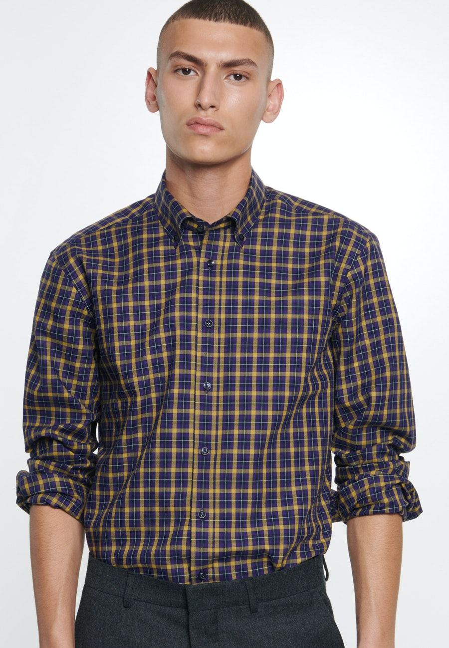 Bügelleichtes Twill Business Hemd in Regular mit Button-Down-Kragen in Gelb |  Seidensticker Onlineshop