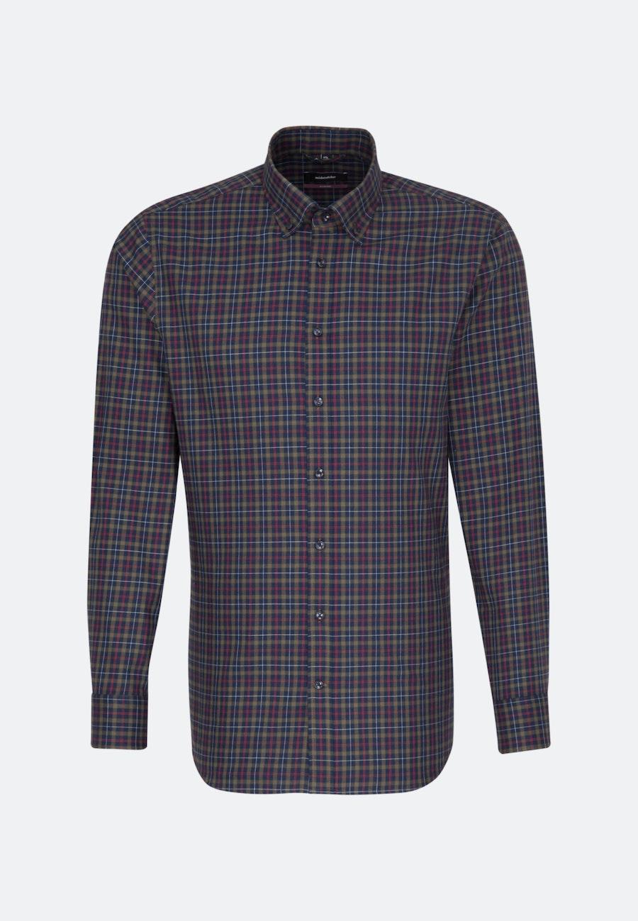 Bügelleichtes Twill Business Hemd in Regular mit Button-Down-Kragen in Dunkelblau |  Seidensticker Onlineshop