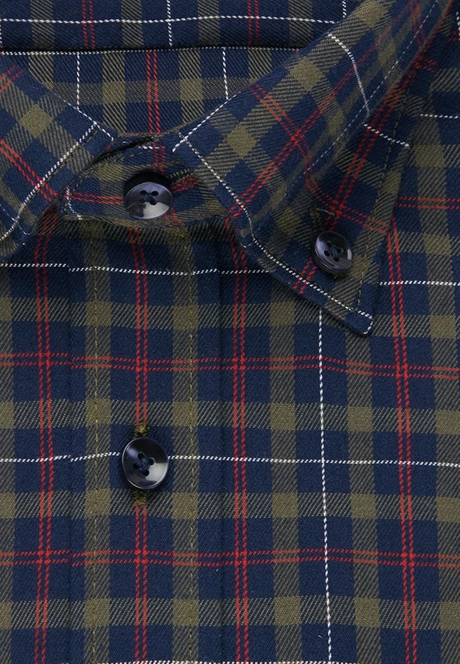 Easy-iron Twill Business Shirt in Shaped with Button-Down-Collar in Dark blue |  Seidensticker Onlineshop