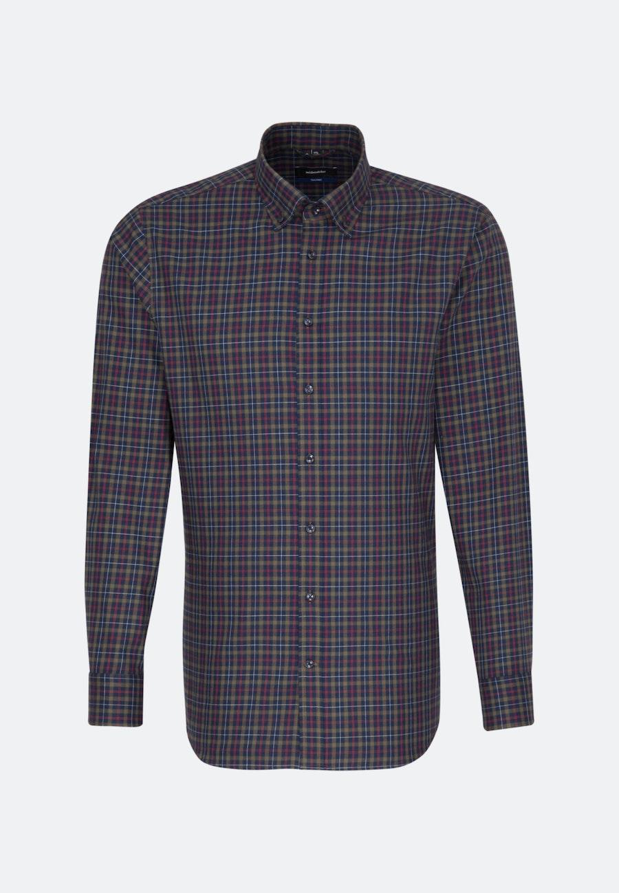Bügelleichtes Twill Business Hemd in Shaped mit Button-Down-Kragen in Dunkelblau    Seidensticker Onlineshop