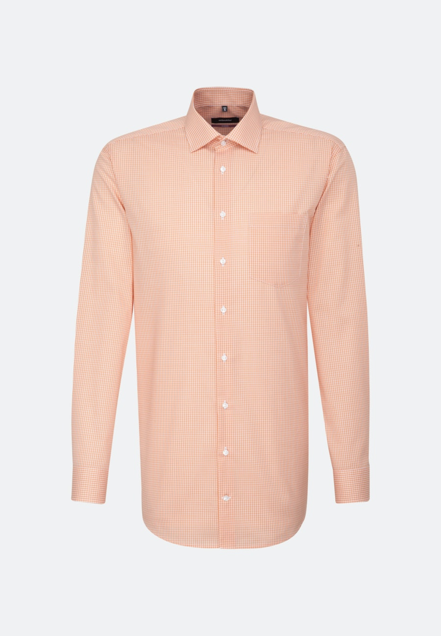 Non-iron Poplin Business Shirt in Regular with Kent-Collar and extra long sleeve in Orange |  Seidensticker Onlineshop