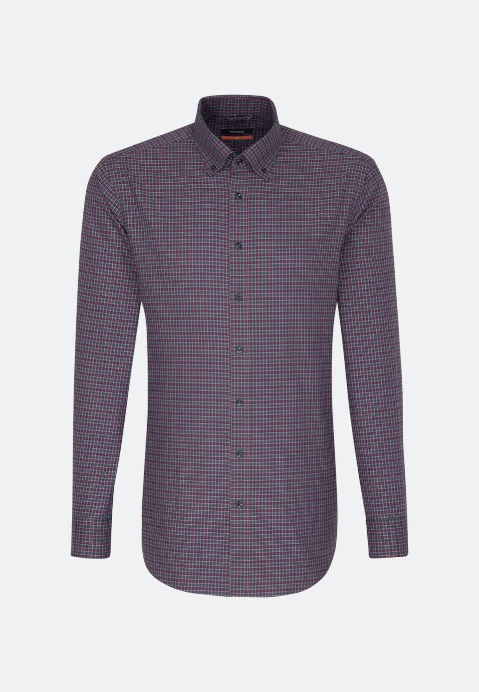 Bügelleichtes Twill Business Hemd in Slim mit Button-Down-Kragen in Rot |  Seidensticker Onlineshop