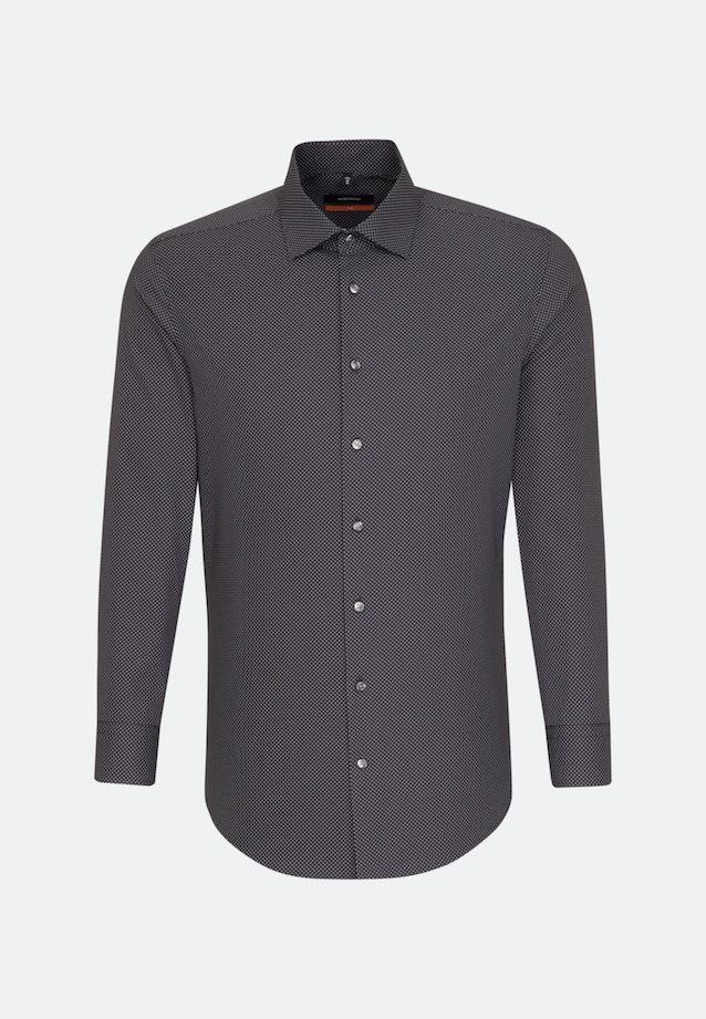 Bügelleichtes Popeline Business Hemd in Slim mit Kentkragen und extra kurzem Arm in Grau |  Seidensticker Onlineshop
