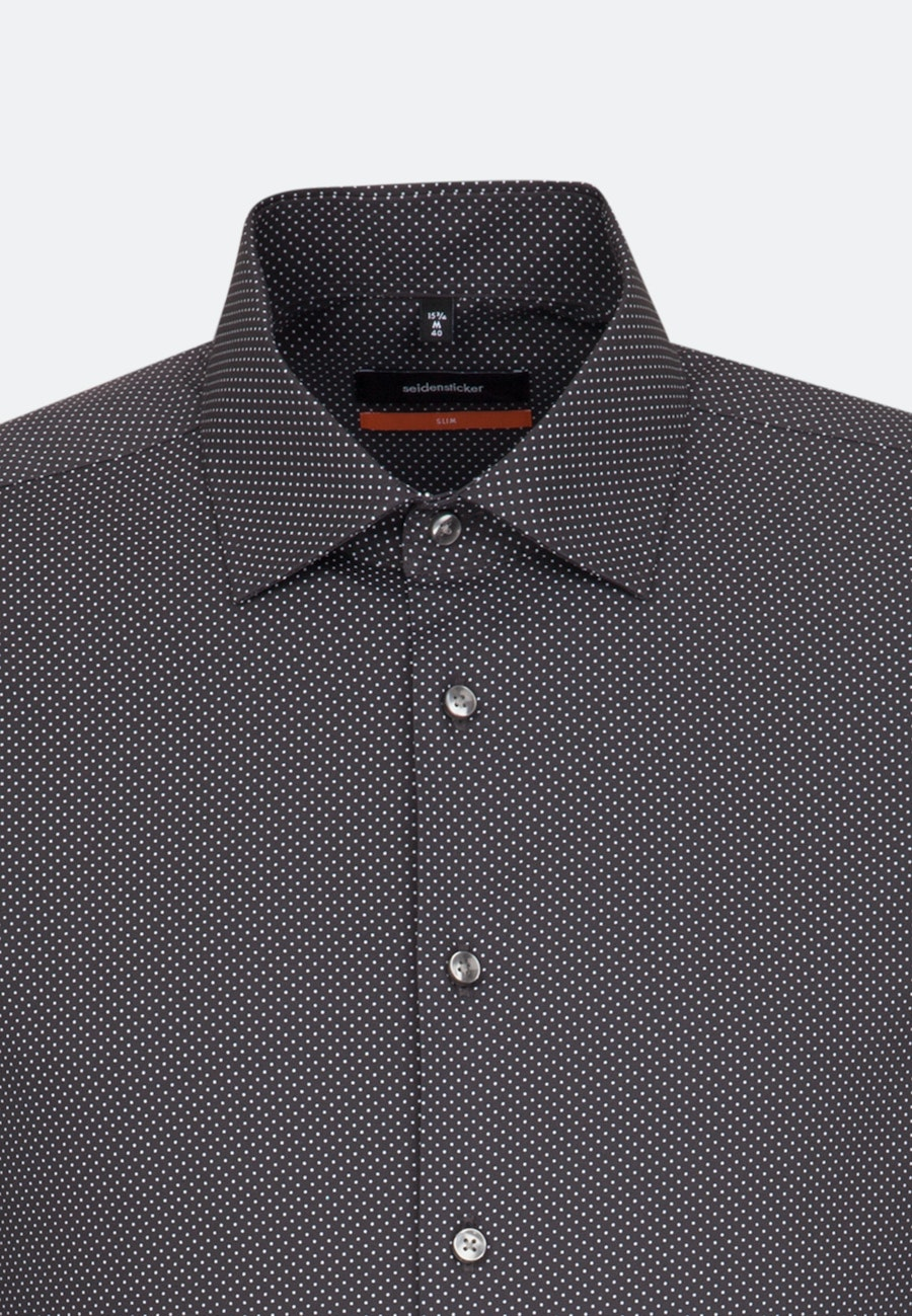 Easy-iron Popeline Business Shirt in Slim with Kent-Collar and extra short sleeve in Grey |  Seidensticker Onlineshop