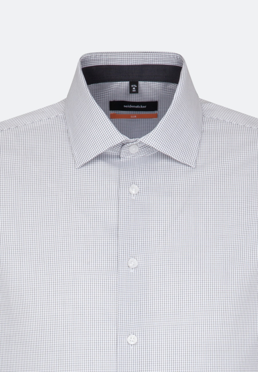 Non-iron Poplin Business Shirt in Slim with Kent-Collar in Grey |  Seidensticker Onlineshop