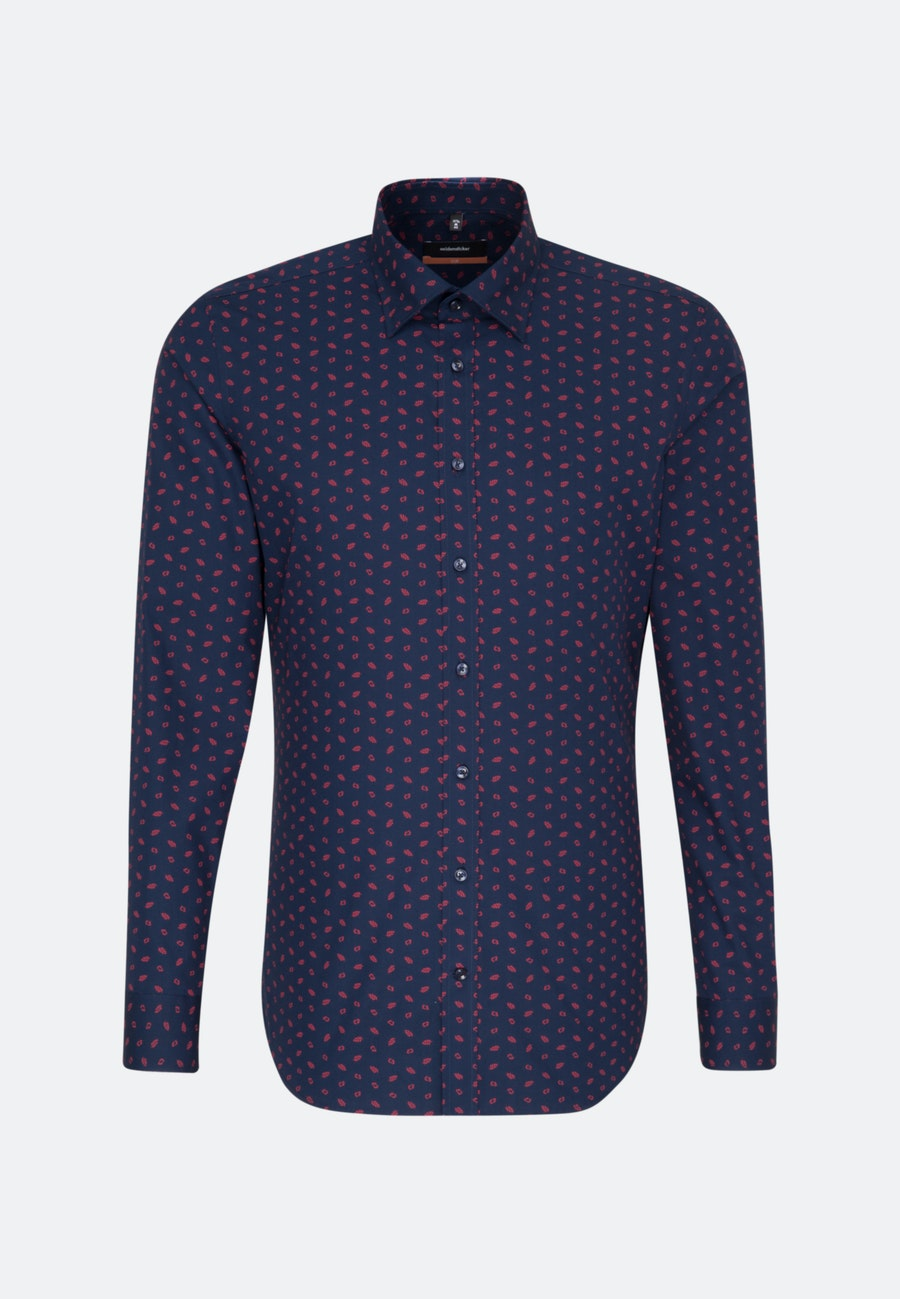 Easy-iron Popeline Business Shirt in Slim with Covered-Button-Down-Collar in Dark blue |  Seidensticker Onlineshop