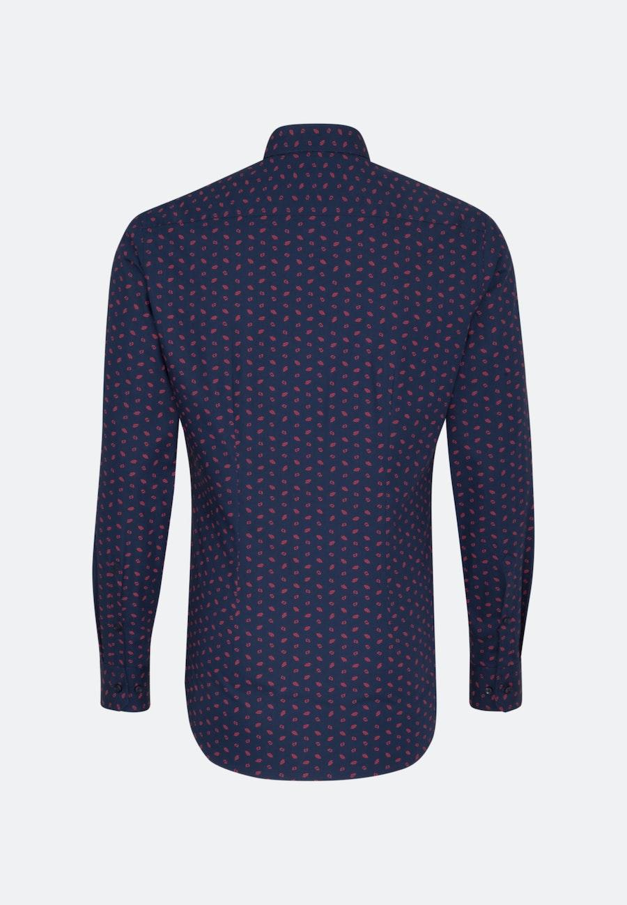 Easy-iron Popeline Business Shirt in Slim with Covered-Button-Down-Collar in Dark blue |  Seidensticker Onlineshop