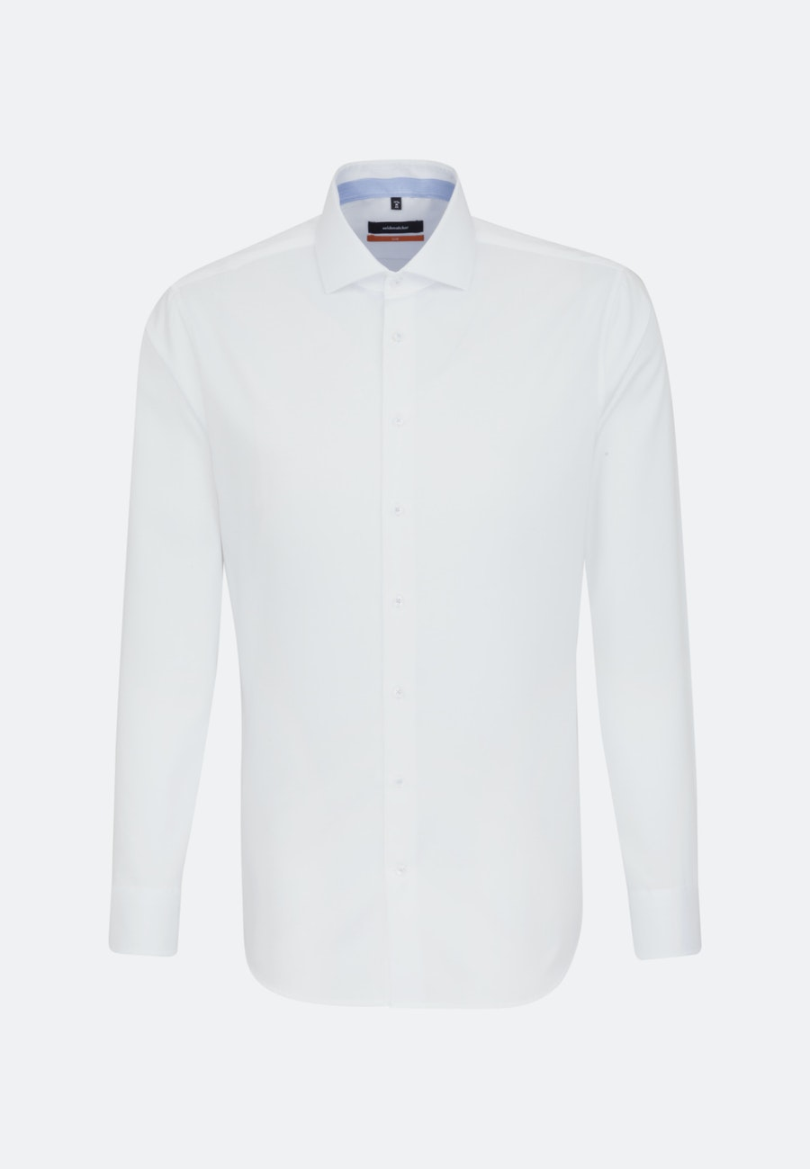 Non-iron Twill Business Shirt in Slim with Kent-Collar and extra long sleeve in White    Seidensticker Onlineshop